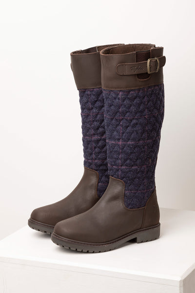 Navy - Middleham Quilted Tweed Boots