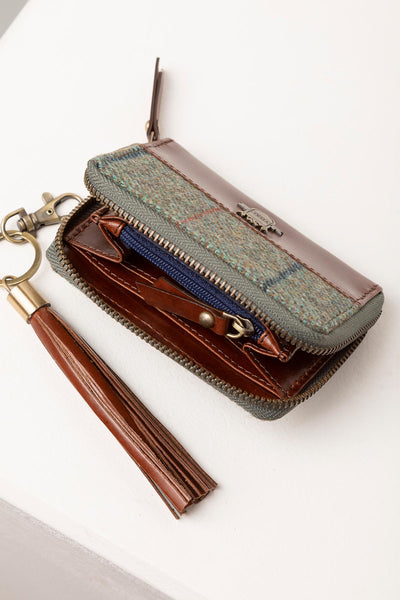 Blue Check - Middleham Tweed Purse & Keyring Set