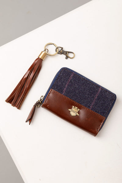 Navy - Middleham Tweed Purse & Keyring Set