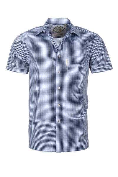 Millington Blue - Mens Easy Care Short Sleeved Shirt