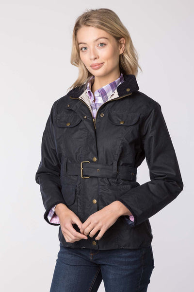 Navy - Milly II Belted Wax Jacket