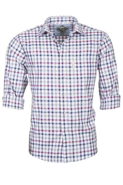 Otley Wine - Mens 100% Cotton Country Check Shirts