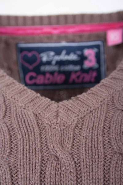Mocha - V Neck Cable Knit Sweater