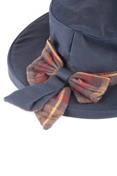 Navy - Ladies Waxed Cotton Check Bow Hat
