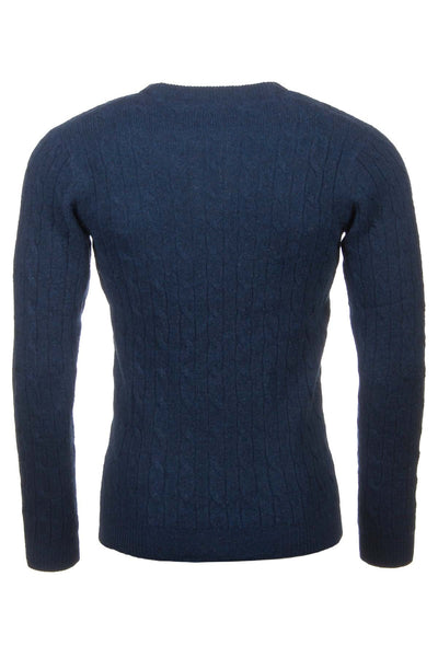 Navy - Rydale Cable Knit Lambswool Sweater