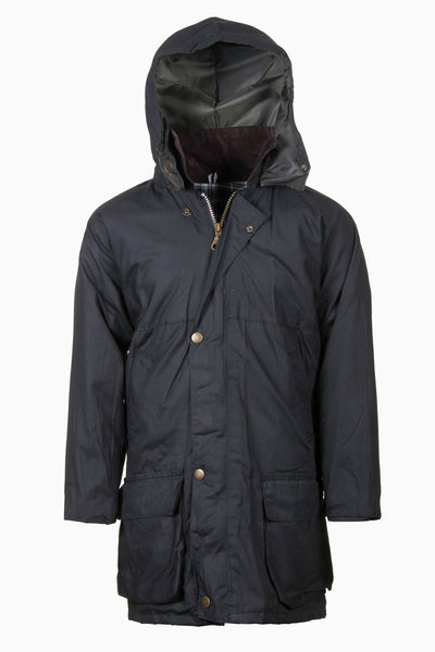 Navy - Junior Hooded Waxed Jacket