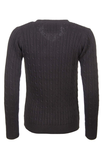 Nearly Black - V Neck Cable Knit Sweater