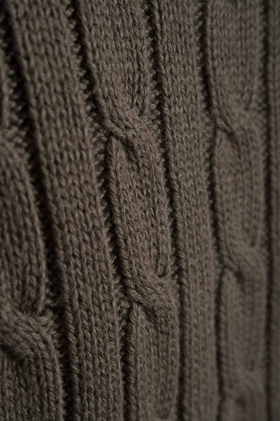 Olive - V Neck Cable Knit Sweater