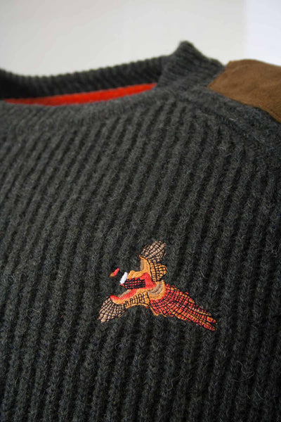 Olive Pheasant - Embroidered Motif Shooting Sweater