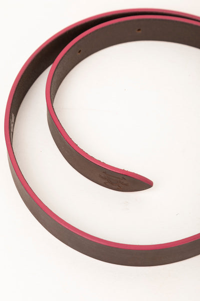 Brown/Pink - Painted Edge Leather Belt