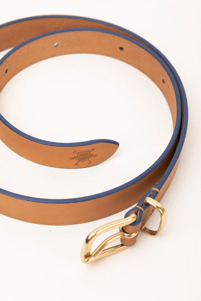 Tan/Navy - Painted Edge Leather Belt
