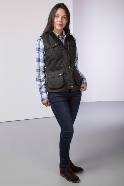 Olive - Ladies Diamond Quilted Wax Waistcoat with Elasticated Back