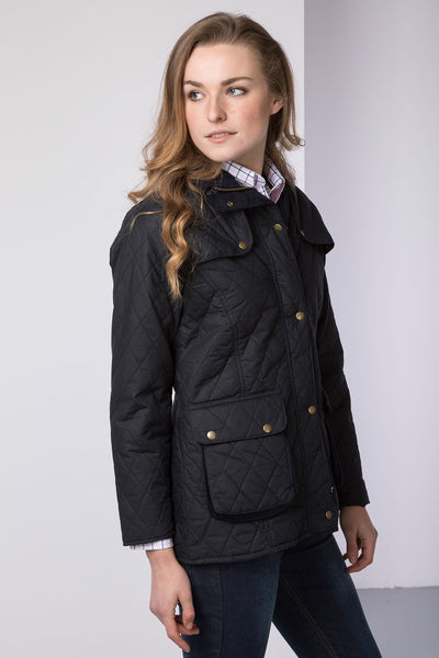 Navy - Rydale womens dq wax jacket elastic back