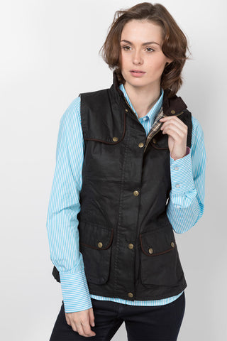 Black - Ladies 100% Waxed Cotton Waistcoat with an Elasticated Back