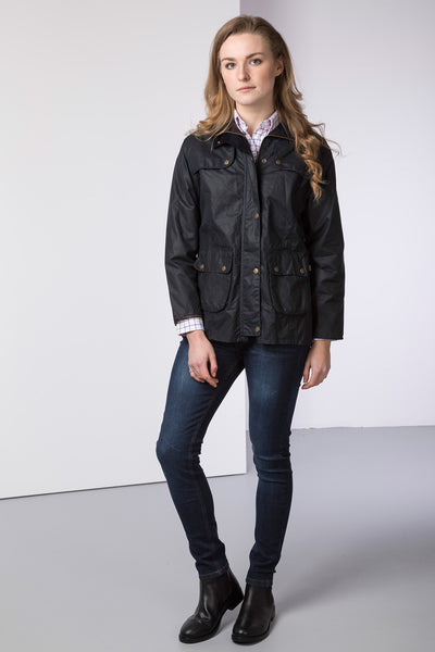 Navy - ladies waxed showerproof jacket elasticated back
