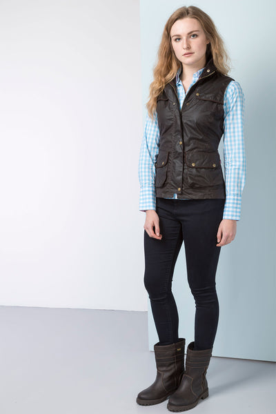 Brown - Ladies 100% Waxed Cotton Waistcoat with an Elasticated Back