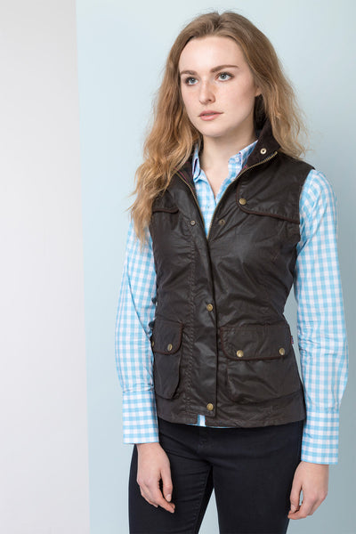 Ladies Panel Waxed Cotton Waistcoat With Elasticated Back