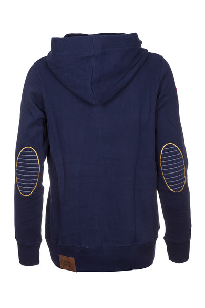 Navy - Ladies Button Neck Hoody Plain