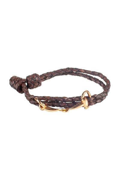 Brown - Plaited Snaffle Bracelet