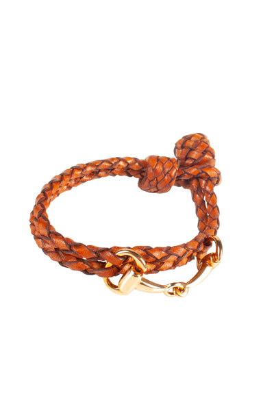 Tan - Plaited Snaffle Bracelet