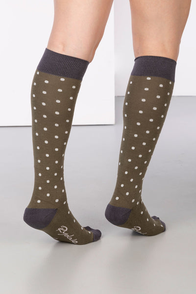 Khaki - Polka Dot Knee Length Socks