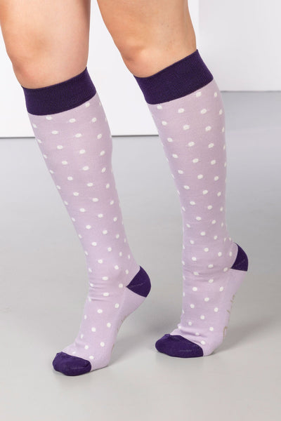 Lilac - Polka Dot Knee Length Socks