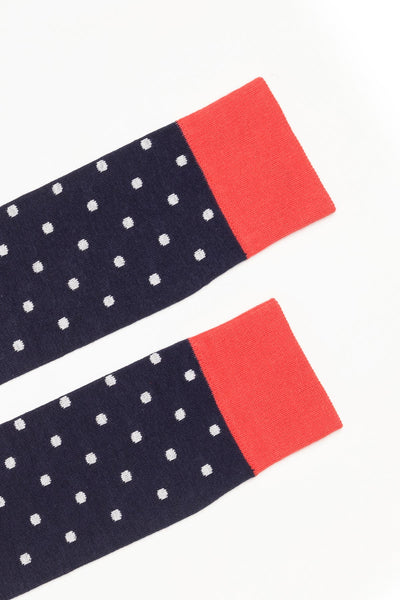 Navy - Polka Dot Knee Length Socks