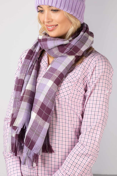 Lilac - Polly Checked Scarf
