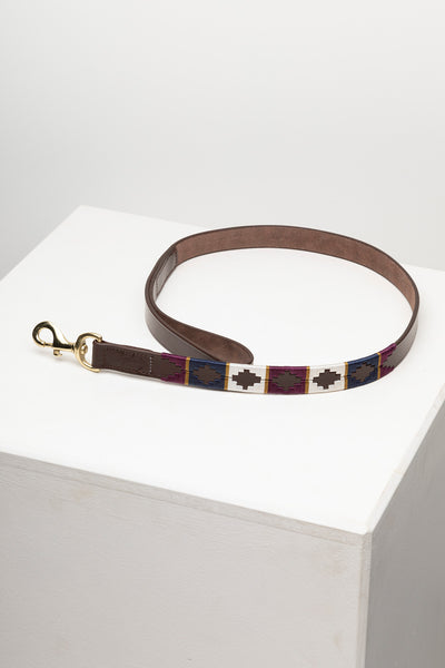 Berry/Navy/Gold - Polo Belt Dog Lead