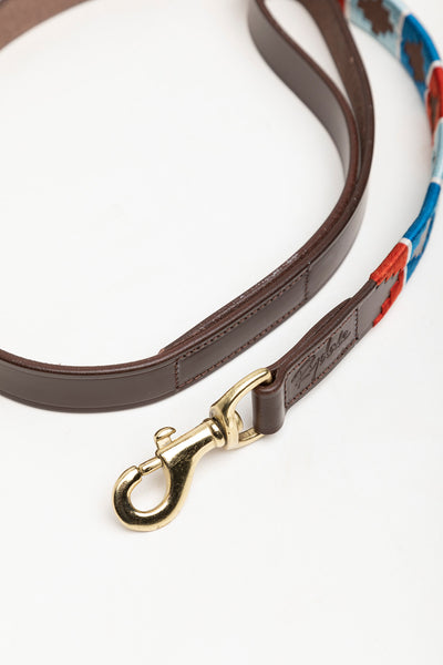 Cherry/Silver/Pacific - Polo Belt Dog Lead