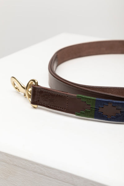 Khaki/Navy/Gold - Polo Belt Dog Lead
