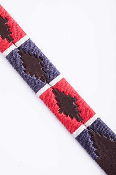 Navy/White/Cherry - Polo Belt