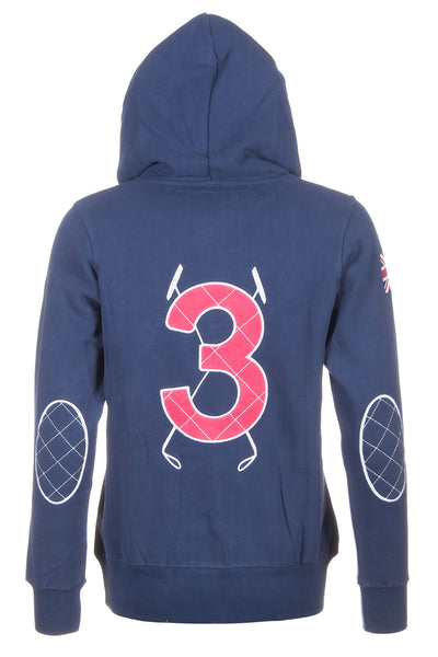 Navy - Rydale Button Neck Polo Hoody