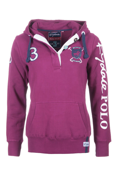 Wine - Rydale Button Neck Polo Hoody