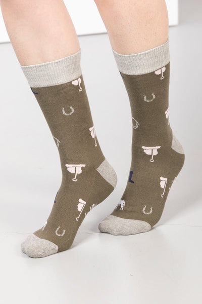 Khaki - Ladies Pony Print Ankle Socks