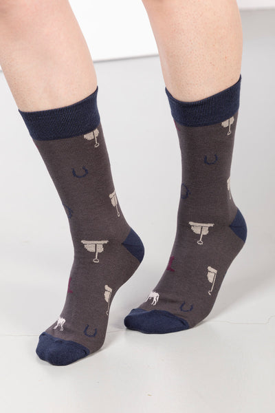 Slate - Ladies Pony Print Ankle Socks