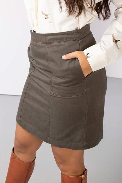 Khaki - Ladies Portia Chino Skirt