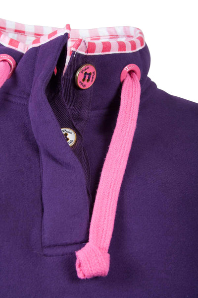 Dark Purple - Rydale Ladies Button Neck Sweathirt