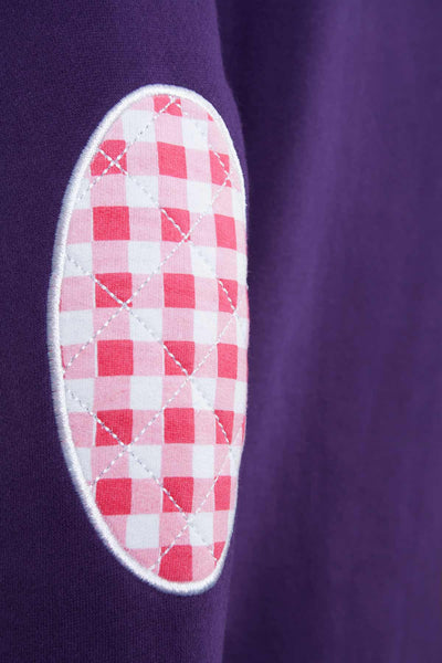 Dark Purple - Gingham Trim Rydale Sweatshirts