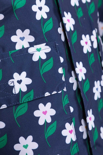 Daisy Navy - Children's Patterned Raincoat