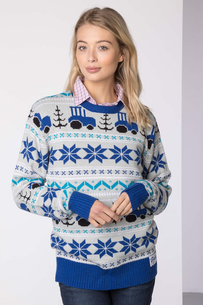 Tractor Blue - Lady Christmas 2016 Sweater