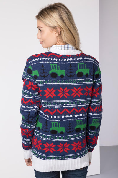 Tractor Navy - Lady Christmas 2016 Sweater