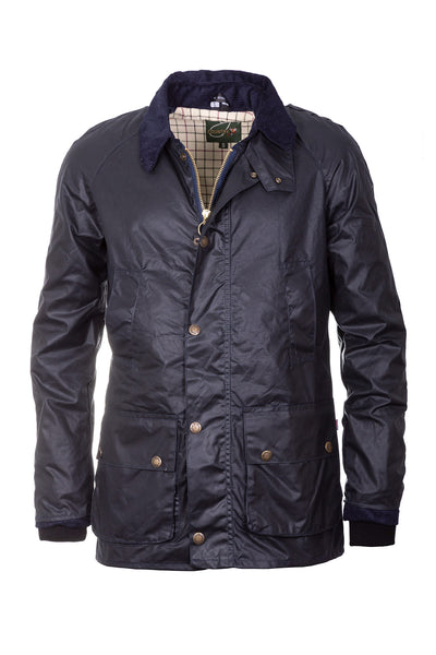 Navy - Men's Richmond Slim Fit Waxed Cotton Jacket