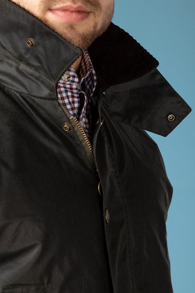 Olive - Richmond Slim Fit Waxed Cotton Jacket