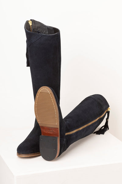 Navy - Rievaulx Suede Spanish Riding Boots