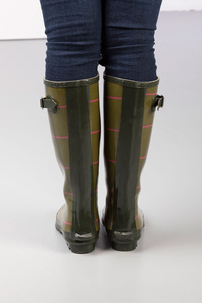 Ladies Ripon High Gloss Tweed Pattern Wellingtons