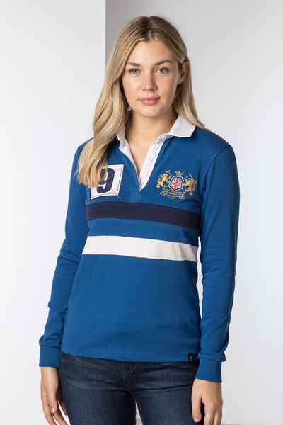 Blue - Ladies Rugby Shirt - Cropton 2 Stripe