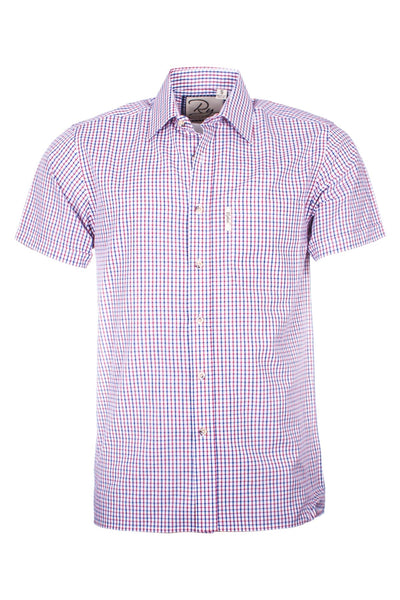 Shipley Blue/Red - Mens Short Sleeve Shirt