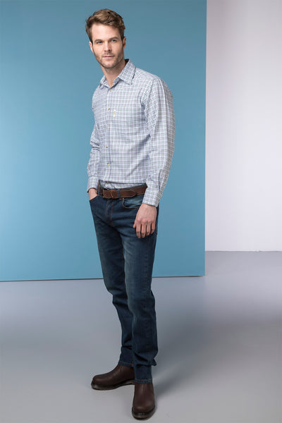 Garton Blue - Mens 100% Cotton Country Check Shirts