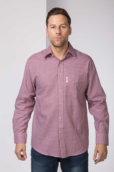 Red Gingham - Mens 100% Cotton Long Sleeved Shirts